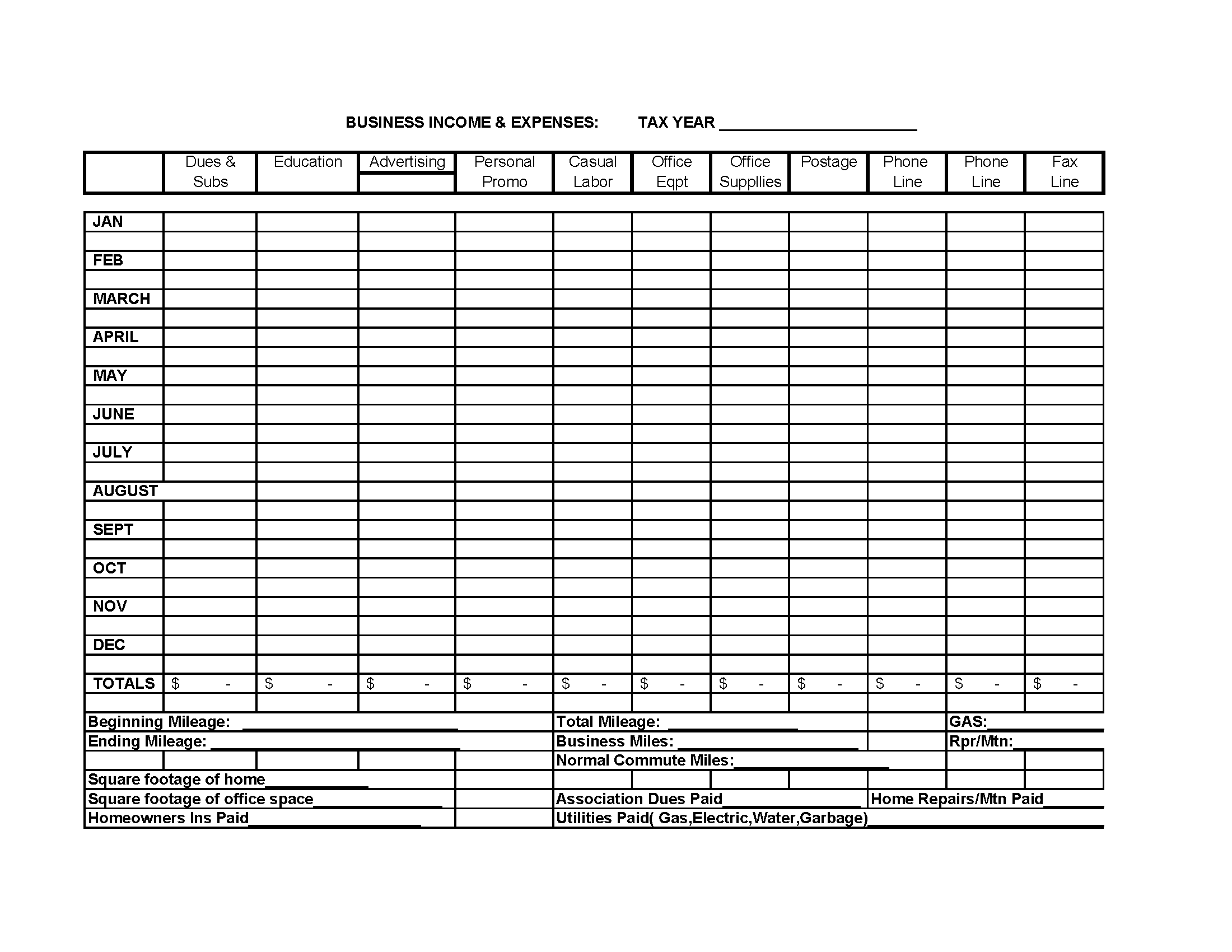 template for business expenses