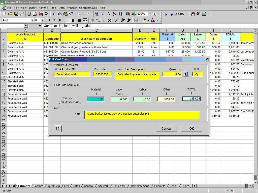 Construction Estimating Excel Spreadsheet
