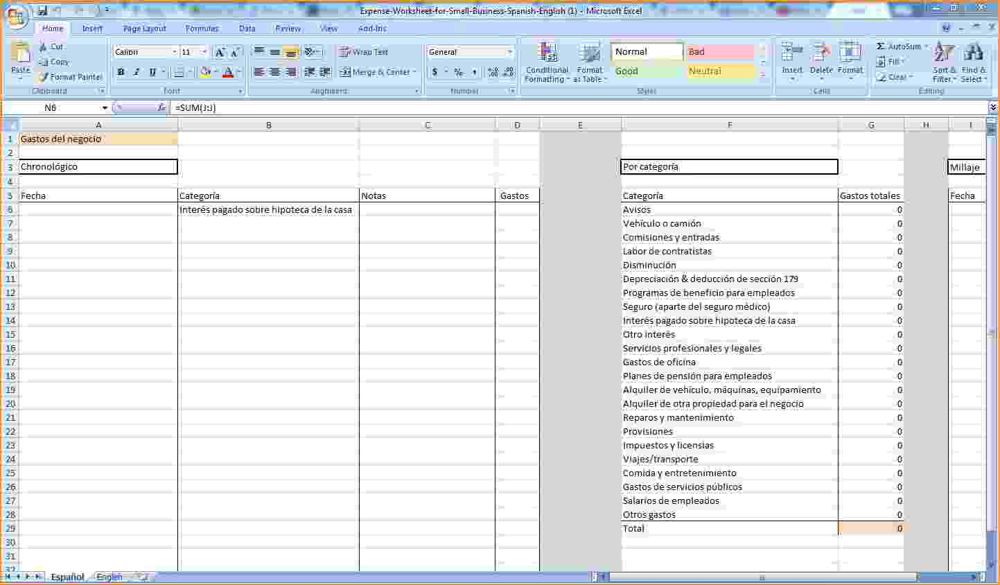 templates spreadsheet for business expenses