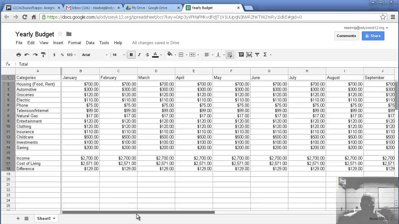 templates yearly expenses spreadsheet