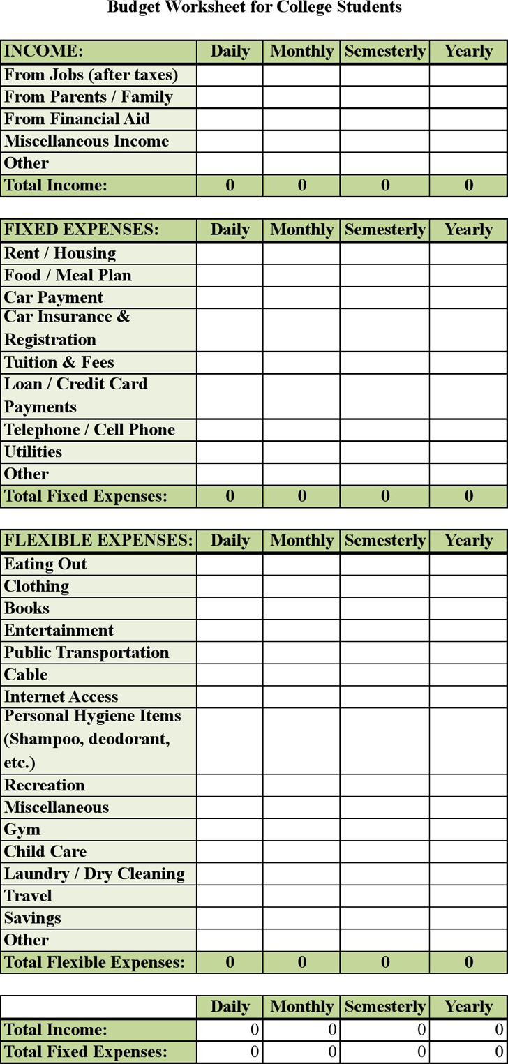 university student budget spreadsheet