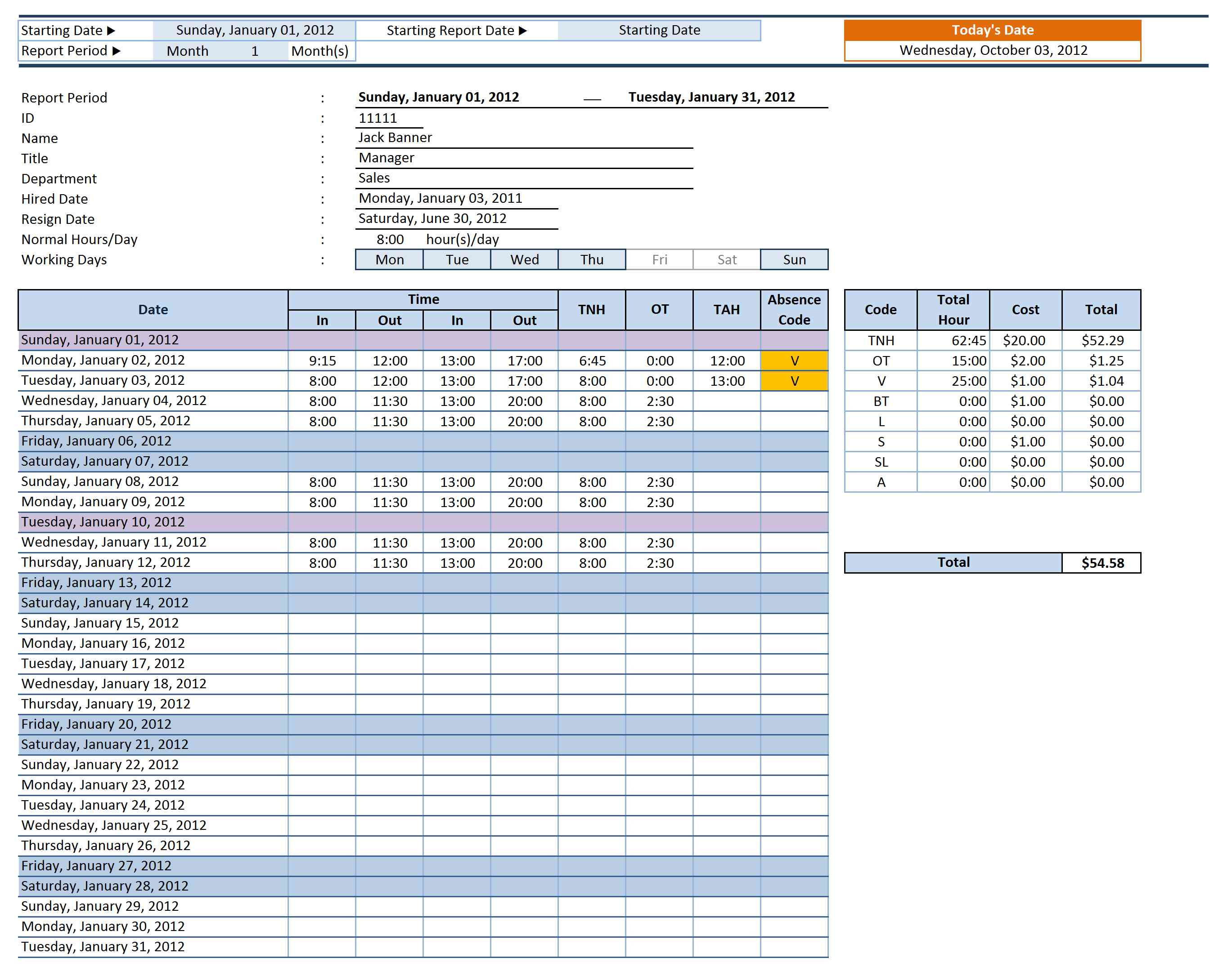 vacation accrual spreadsheet template