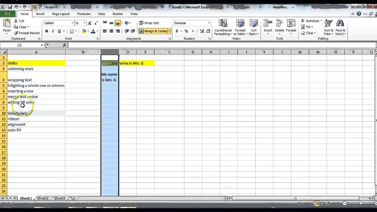 vocabulary list excel template