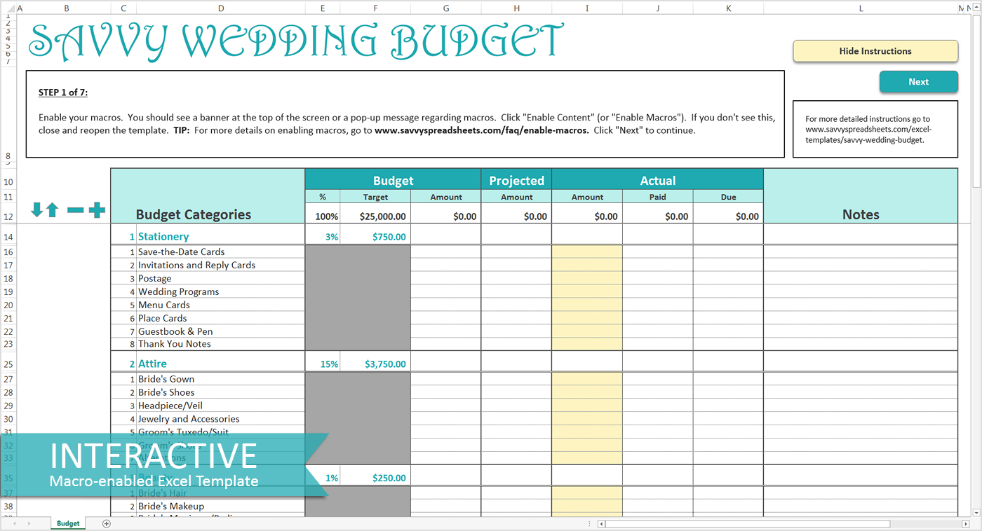 wedding budget spreadsheet south africa