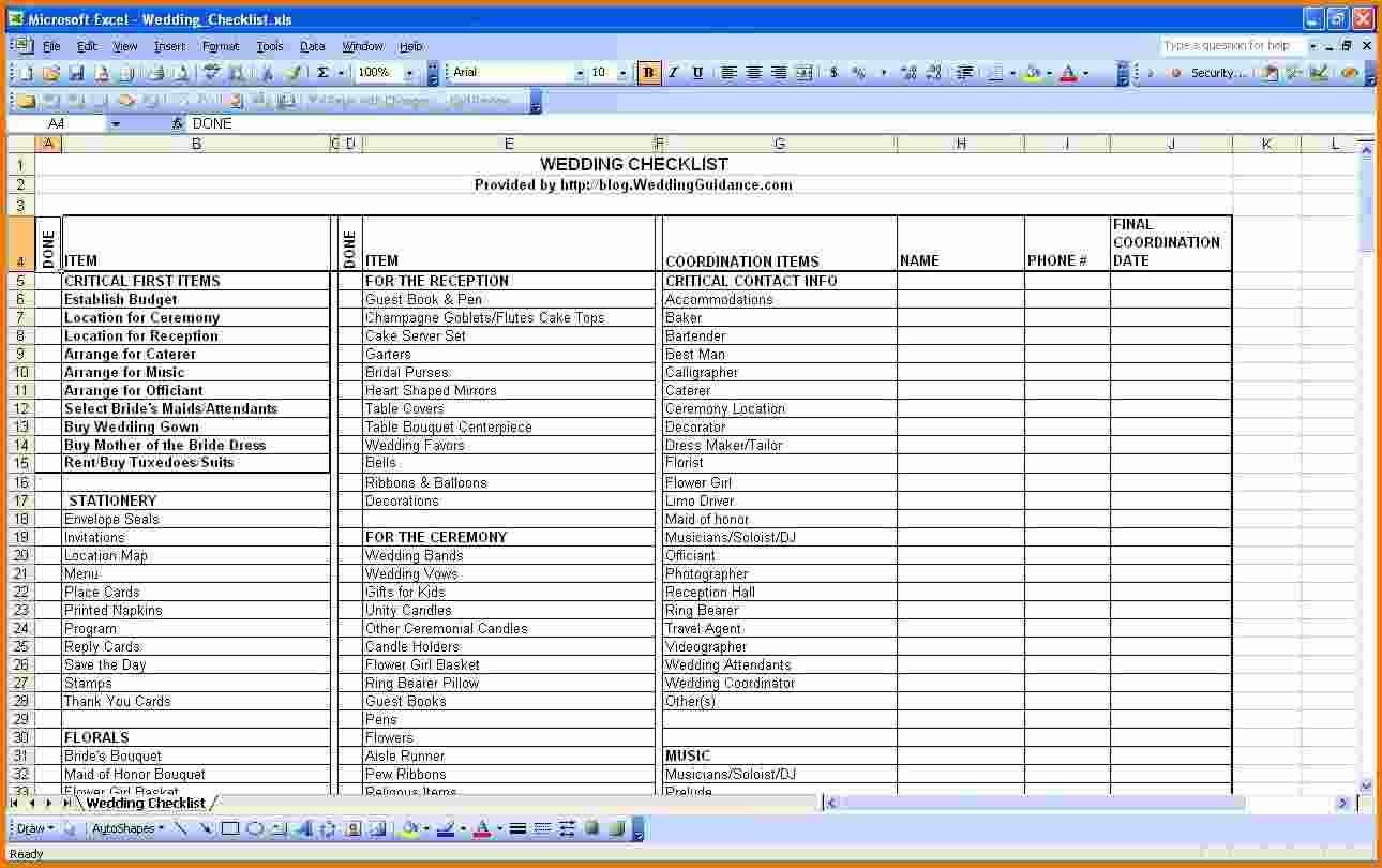 wedding expenses list spreadsheet sample download