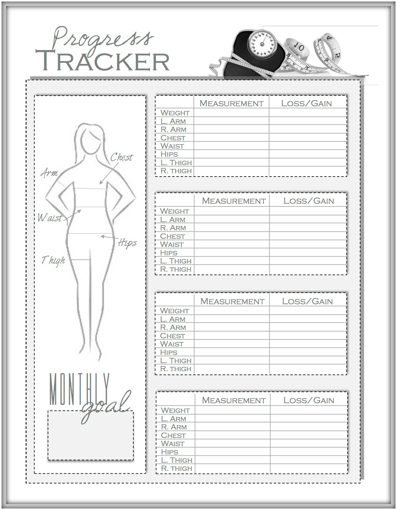 weight loss tracker chart