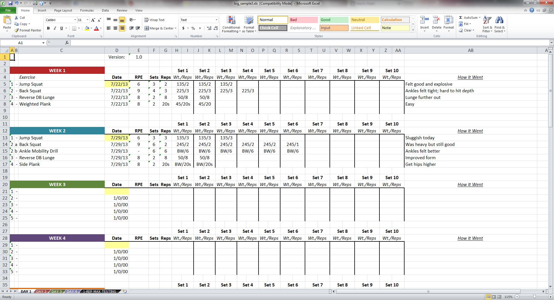 workout excel template free download