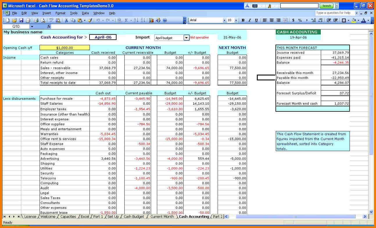 Sample Spreadsheet For Business Expenses